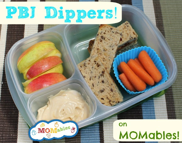 "PBJ ""Dippers"" - sandwich fingers, fruits, and veggies with a healthy dip!"