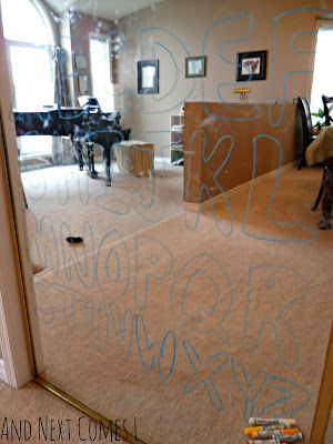 Tracing uppercase letters on mirrors with window markers from And Next Comes L