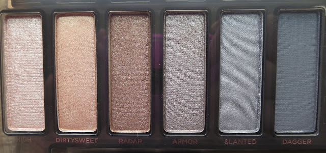 a picture of Urban Decay Naked Smoky Palette ; High, Dirtysweet, Radar, Armor, Slanted, Dagger