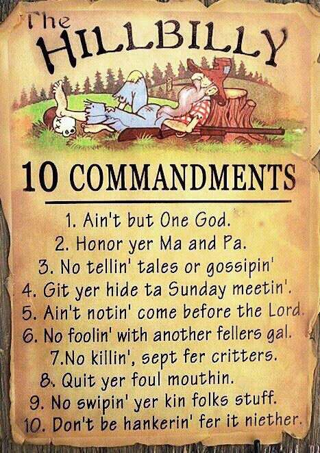The Eco Senior Hillbilly 10 Commandments