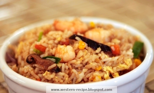 Western Food Recipe: Shrimp-Shitake Mushroom Fried Rice