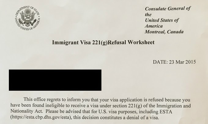 US immigrant visa green card rejection letter