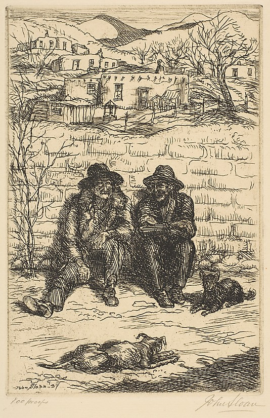 1937 Hombres in the Sun etching 15.2 x 10.2 cm