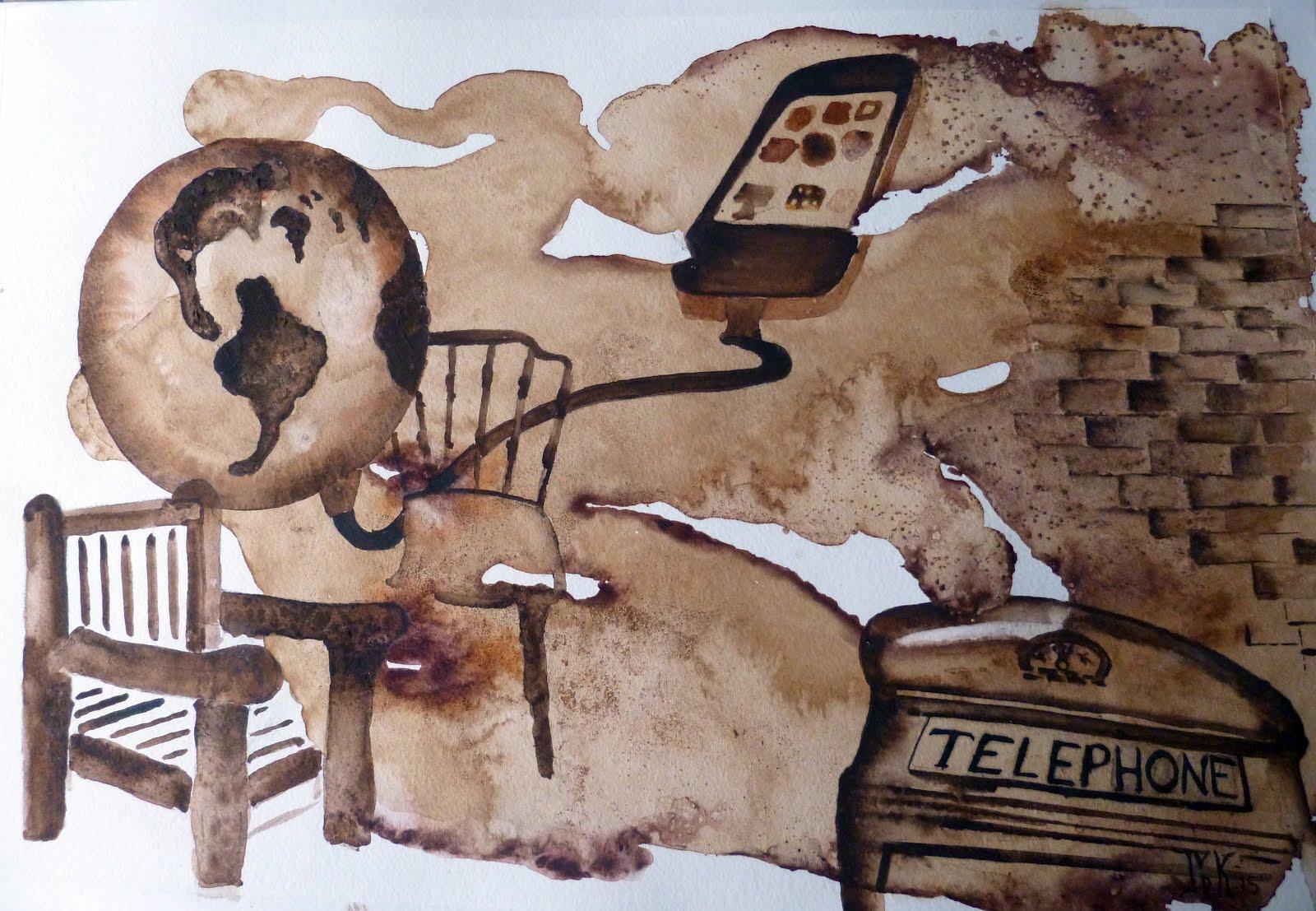 Verbindingmet koffie geschilderd