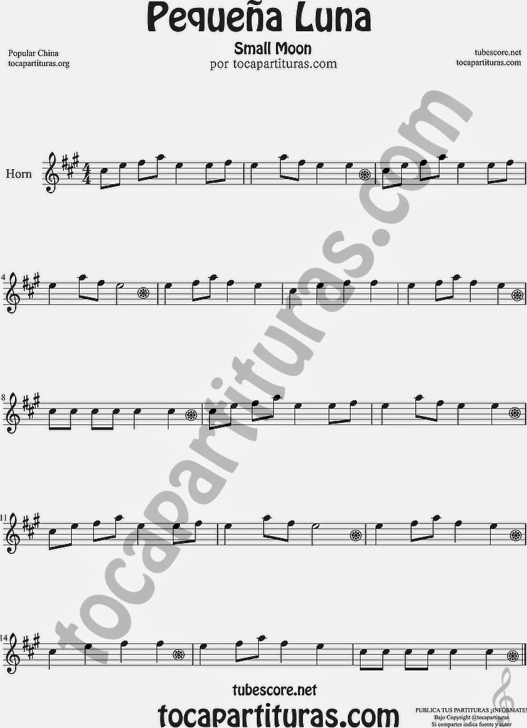 8ª Alta  Pequeña Luna Partitura de Trompa y Corno Francés en Mi bemol Sheet Music for French Horn Music Scores Popular China Small Moon 方便兒童歌曲樂譜小月亮流行民歌在中國的號角
