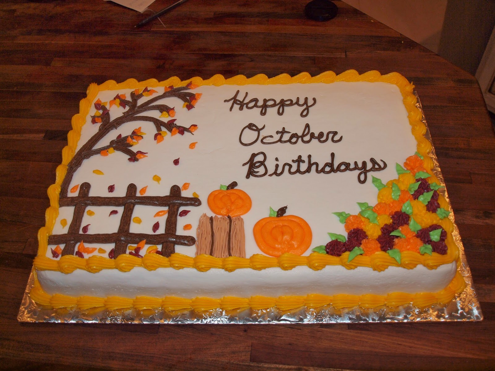 The ozinga outlook autumn sheet cake for Autumn cake decoration