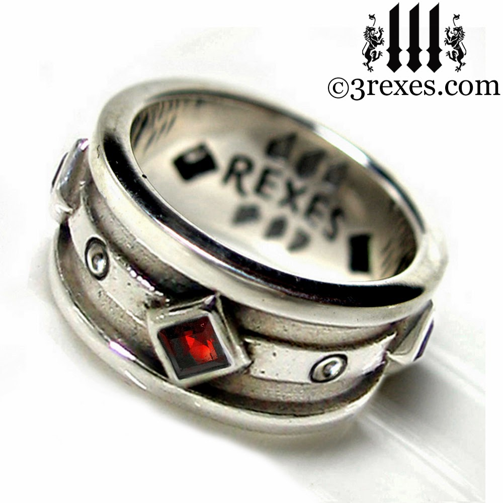 mens silver gothic wedding ring with garnet