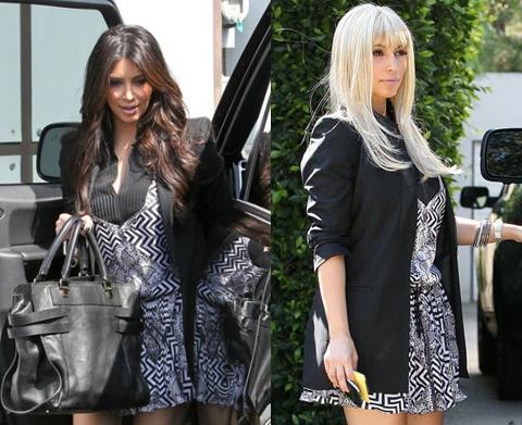 Kim Kardashian perruque Blond platine