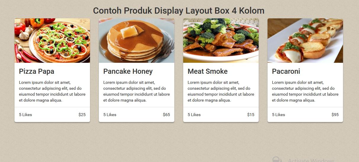 Membuat Display Produk Dalam Layout Box 4 Kolom