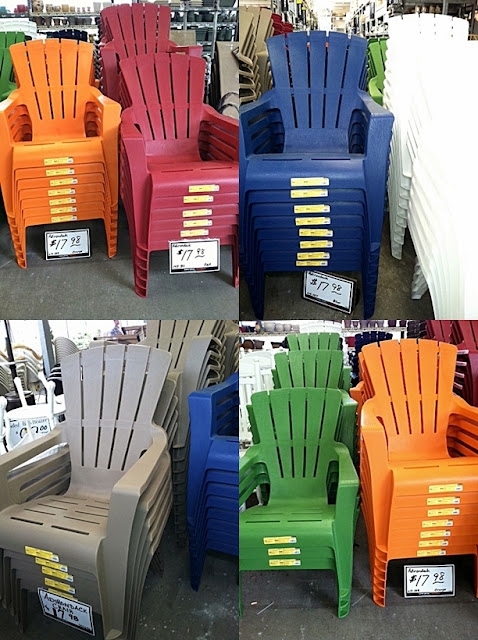 plastic adirondack chairs at the home depot this past weekend