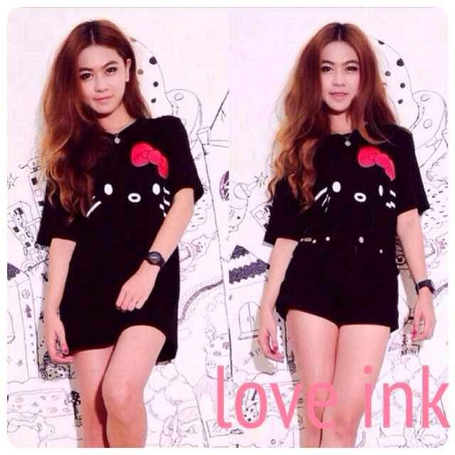 VBT Hello Kitty Black - Kaos Big Size Love Ink - Harga Saudara