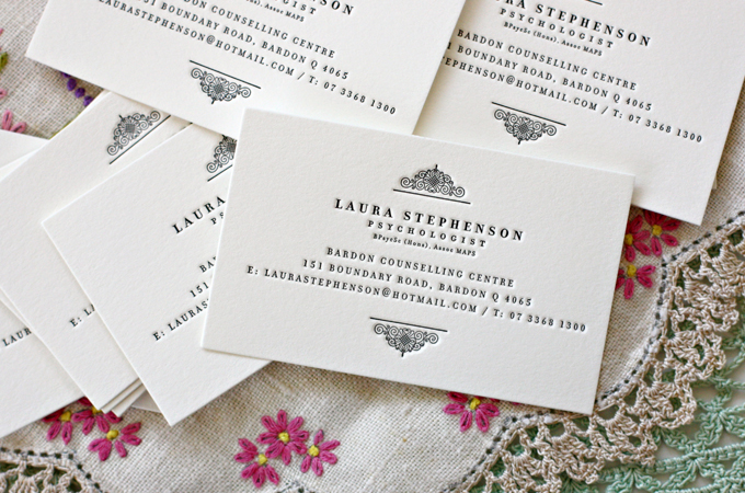 Bespoke press lovely letterpress business cards images above of lovely letterpress business cards which we designed and letterpress printed for brisbane local laura who was after beautiful business cards reheart Choice Image