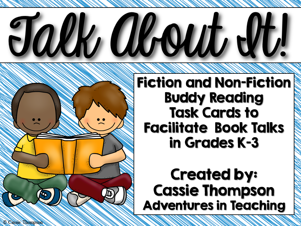 http://www.teacherspayteachers.com/Product/Talk-About-It-Buddy-Reading-Task-Cards-for-K-3-774007