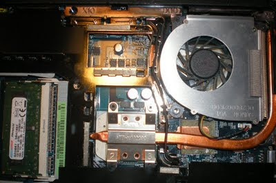 laptop, cooling fan, cooling copper pipe, insides of a computer