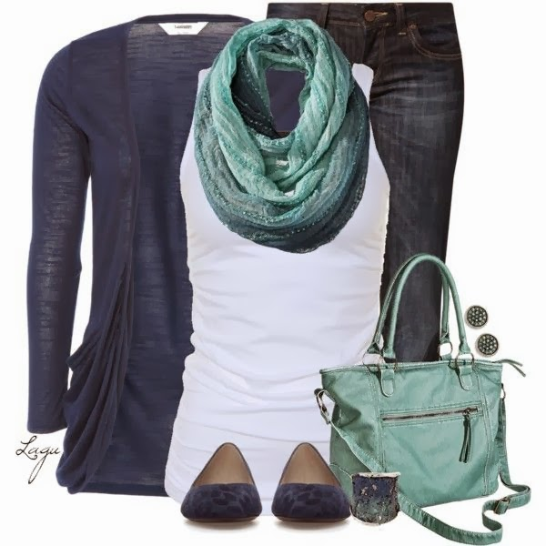 Adorable cardigan, scarf, white blouse, jeans and handbag combination for fall