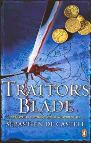 cover art for Traitor's Blade, featuring a dagger stabbed into a blue-toned map that comprises the entire cover. Blood wells up from the place where the blade enters the map. Five gold coins sit in a loose pile in the upper right hand corner.