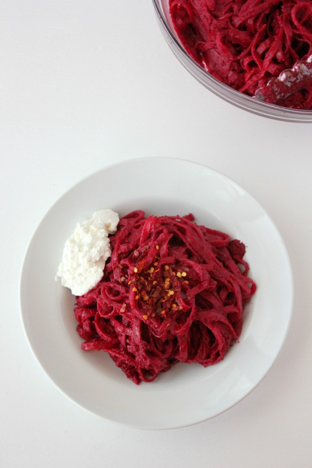 Beet Pasta, Roasted Garlic and Beet pasta, Beets, easy beet recipe, roasted beet pasta, Simple Bites