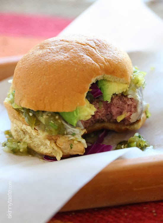 Salsa Verde Burgers – lean burgers topped with salsa verde and avocado, my FAVE!!!