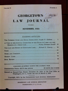 Georgetown Law 1921 cover