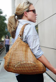 Woven straw bag.