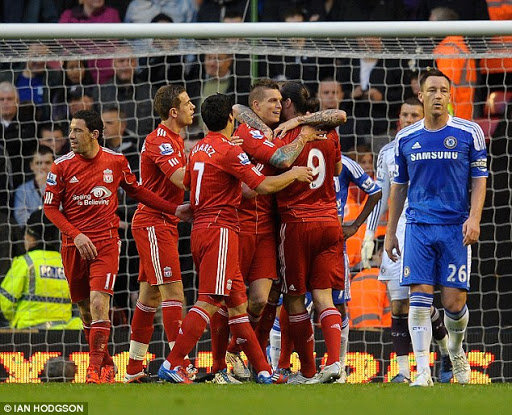 Liverpool players congratulate Danny Agger on his goal