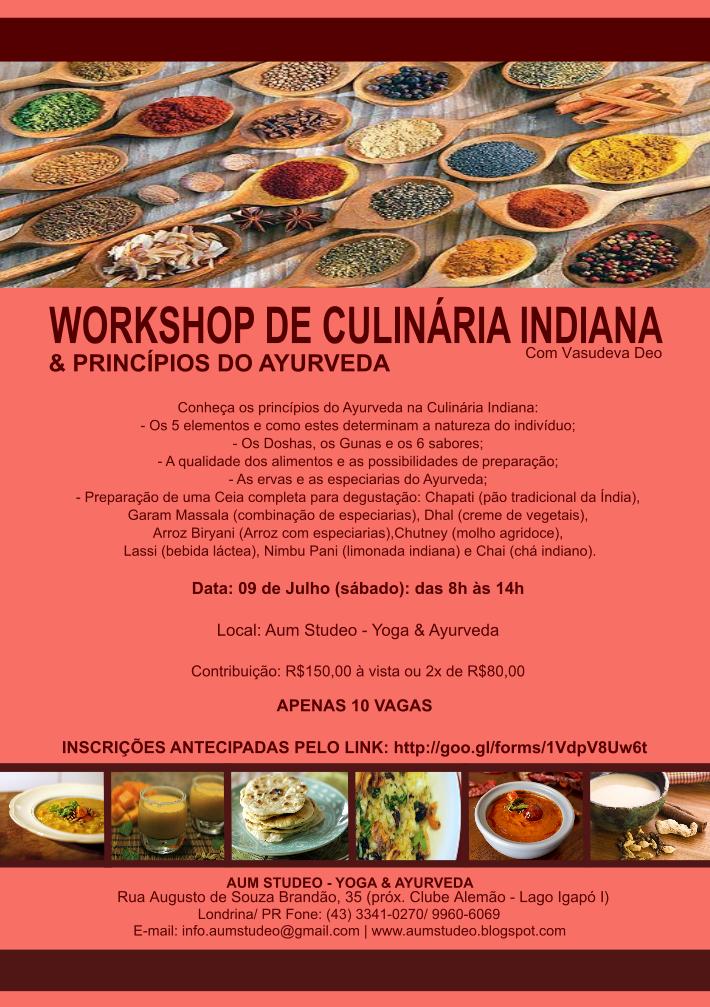 Workshop de Culinária Indiana & Princípios do Ayurveda