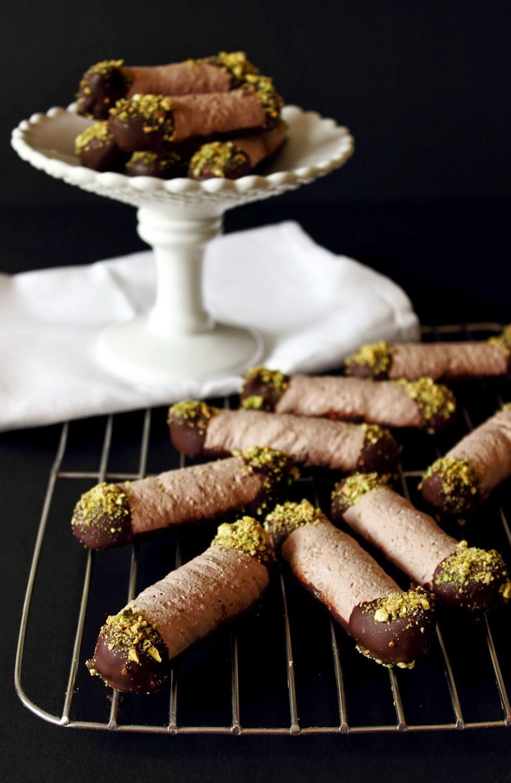 Chocolade-pistache schuimkoekjes
