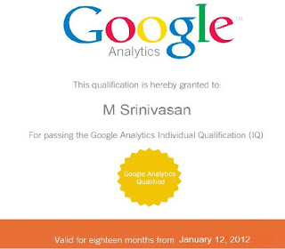 Srinivasan SEO_Google Analytics Exam Certified