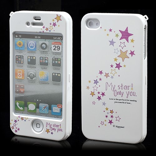 Happymori Stars : Front & Back Snap-On Hard Case for iPhone 4 4S