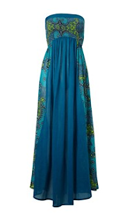 maxi dress, spring dress, pattern dress, french connection dress, peacock blue dress