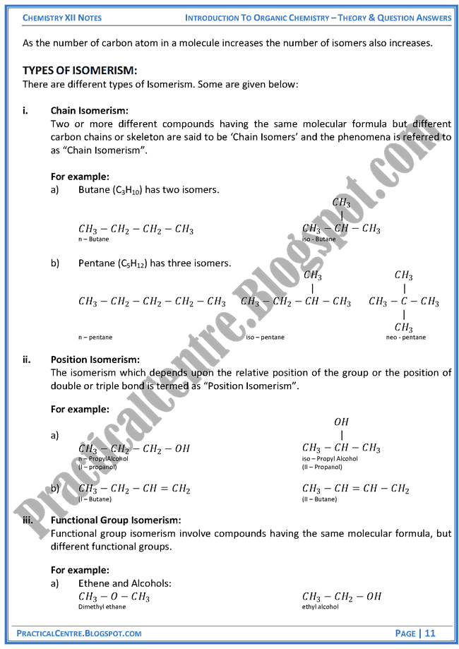 introduction-to-organic-chemistry-theory-and-question-answers-chemistry-12th
