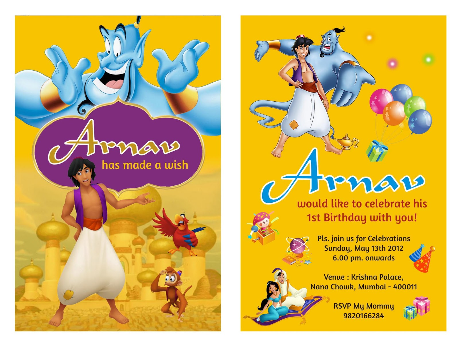 Aladdin birthday Party Theme Card
