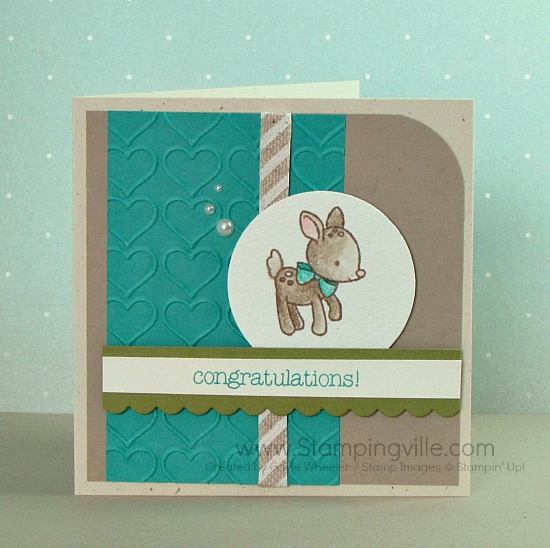 Simple baby card featuring Stampin' Up! Made With Love stamp set.