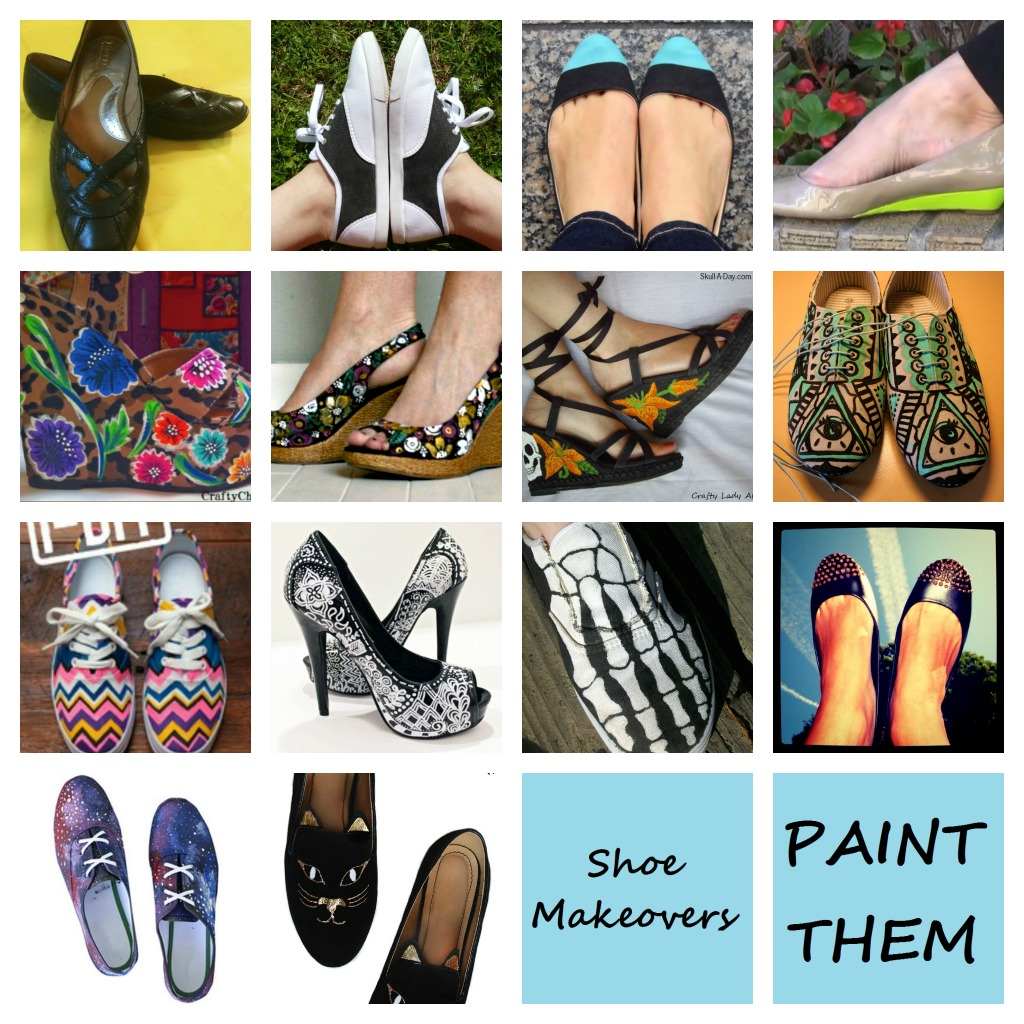 You can also embellish them...which we will get to later in a different  post. I'm sharing many different looks and techniques used to transform  shoes with ...