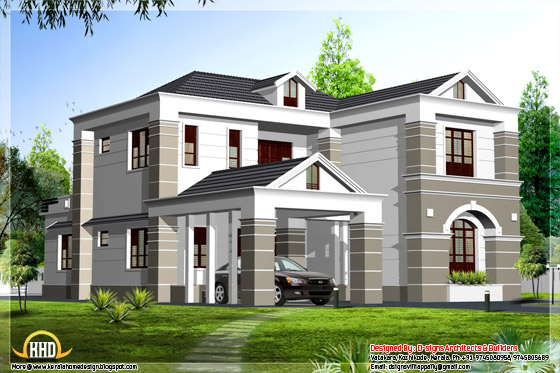 India style simple sloppy box home elevation