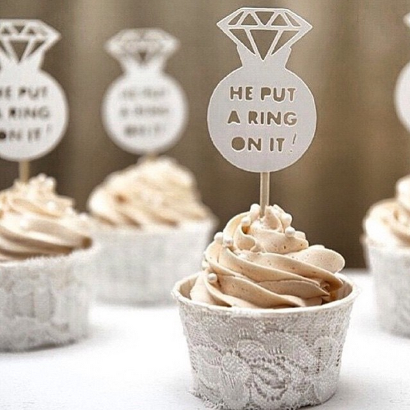 He Put A Ring On It Cupcake Topper