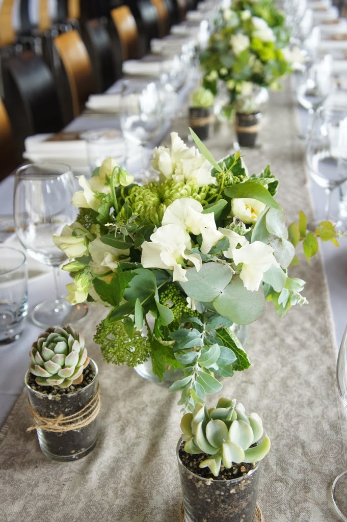 White And Green, Natural Table Setting. Hydrangea, Sweet Peas, Gum,  Crysanthemums, Peonies