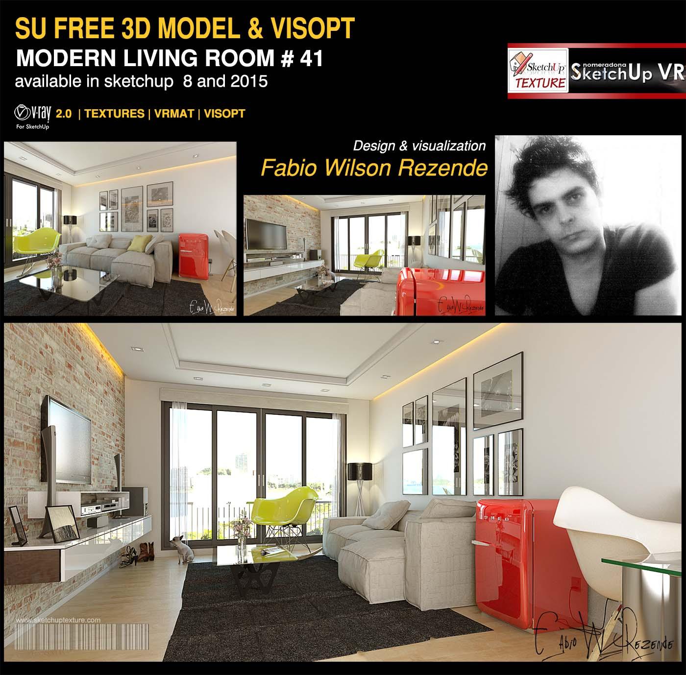 SKETCHUP TEXTURE: Beautiful free sketchup model modern living room ...