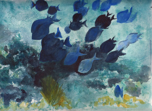 Bunny's Artwork: Underwater Fish Watercolor Painting