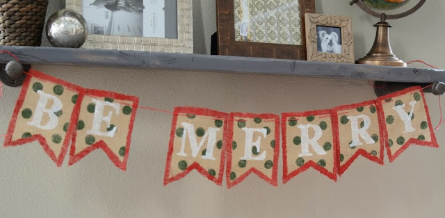 Be Merry DIY Burlap Banner for Christmas