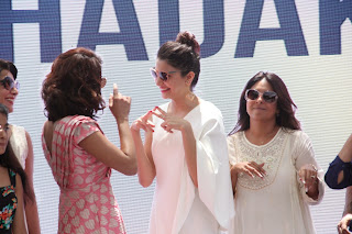 Actress Anushka Sharma Pictures in White Dress at Dil Dhadakne Do Music Launch  84.JPG