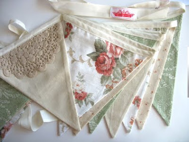 Vintage Style Fabric Flag Bunting + Doily Lace.