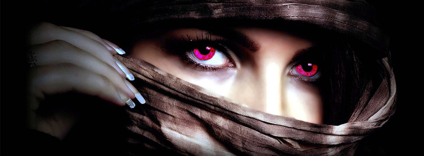 red eyes girl Facebook Cover
