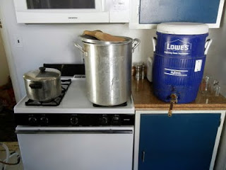 My turbid mash setup, from left to right: turbid wort, hot liquor, mash tun.