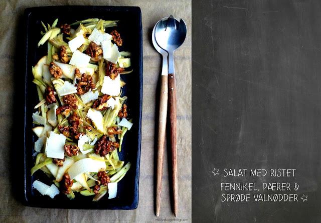 Salat med ristet fennikel, pærer & sprøde valnødder - Mit livs kogebog