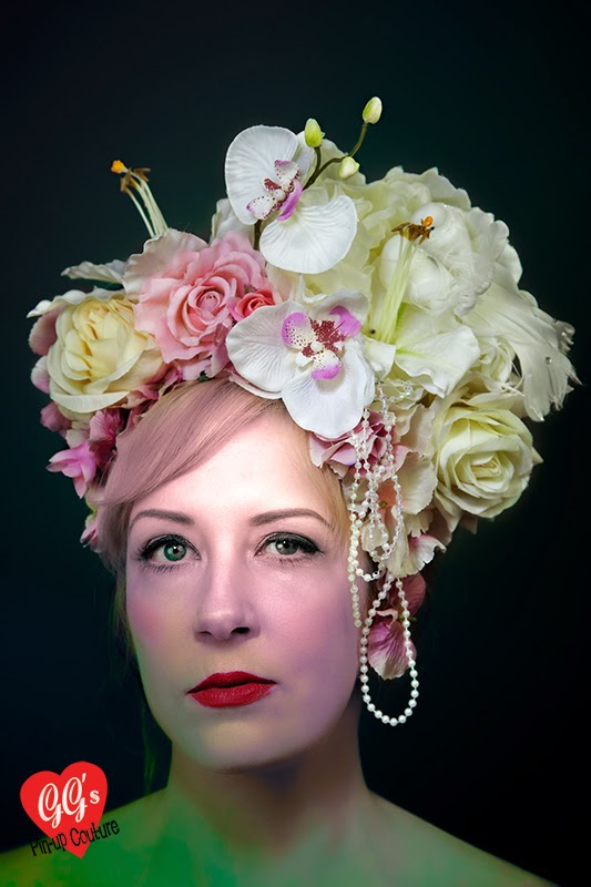 roses, lily, fascinator, headdress, ascot, races, bridal, ggs