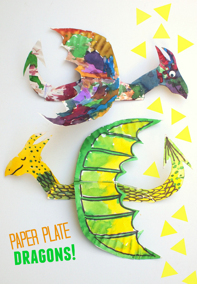 Paper plate dragons -super easy and fun art and craft project to make with the  sc 1 st  Pink Stripey Socks : paper plate art projects - pezcame.com