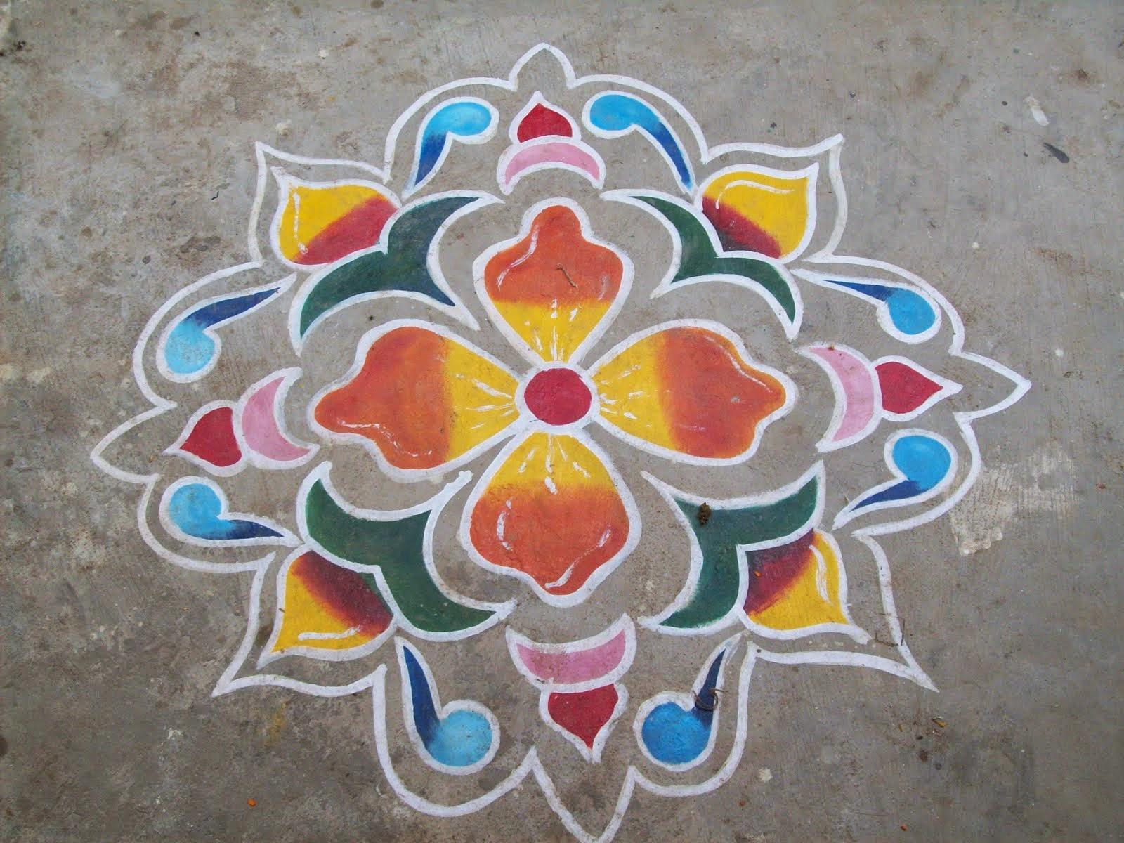 Diwali kolam designs diwali rangoli designs 2014 for Home made rangoli designs
