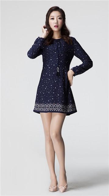 Roem Blue Pattern Dress Long Sleeves