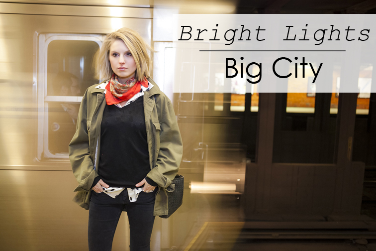 Bright lights big city, New York City subway, Gap menswear military jacket, Liberty of London silk scarf, Bottega Veneta intrecciato leather cross body bag, Ça Va de Soi v-neck knitwear